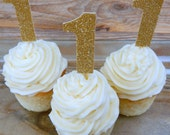 12 x Glitter Gold Age Cupcake Toppers. 1 Cupcake Toppers. One Cupcake Topper. First Birthday. One. Age Topper. Birthday Decor. Anniversary
