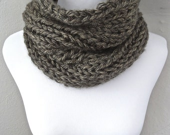 Dark Taupe/Brown Knit Cowl