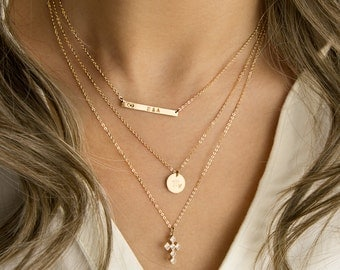 Personalized Layering Necklace Set, Custom Gold Initial Necklaces, Delicate Gold Necklace Set, in 14k Gold Filled • LNS-02
