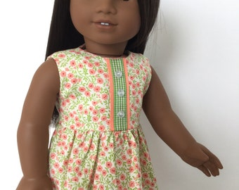 American doll clothes, Girl doll dress, Party dress for 18 inch dolls, Buttons, Ribbon detail