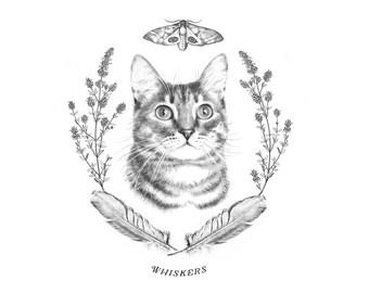 Custom pet portrait,gift for cat lover, cat portrait, framed cat portrait, modern art, wall art