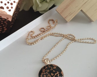 "The ""Lilly"" Polymer Clay Cabochon Pendant- Black with Copper Leaf Foil"