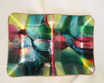 Vintage Art Glass Tray by Mayfair Seetusee-Candy Dish-1960's-Super Sale