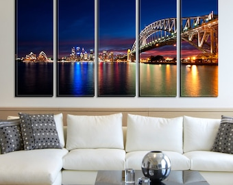 Sydney Night and Bridge Extra Large Canvas Wall Art Print for Home Decoration No:455