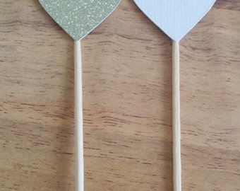 Heart cupcake toppers, Wedding Cupcake topper, 24 White and gold glitter toppers, bridal shower, baby shower,  hens night, kitchen tea