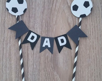Soccer Cake Bunting, Dad Cake Bunting, Fathers Day Cake Bunting,  Black and Grey Cake Bunting, Soccer Decoration, Soccer Party