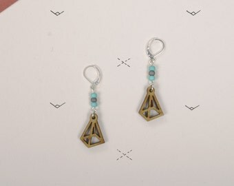 Wood WOODEARZ pyramid Geometric earrings