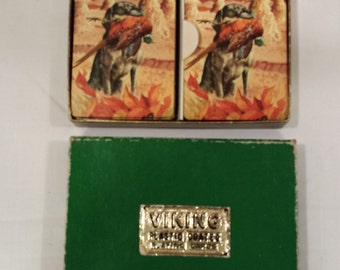 Vintage Viking Plastic Coated Playing Cards ( 2 decks ) with Dog fetching a Pheasant.