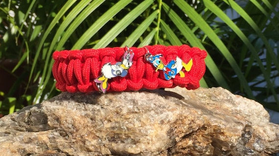 Donald and Daisy Paracord Bracelet, featuring Donald & Daisy Duck a love story, silver enamel charms