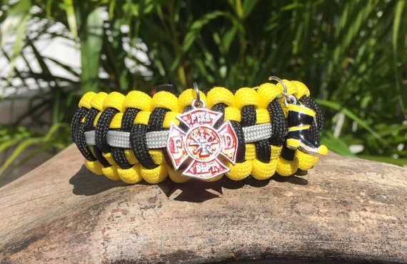 Firefighter / Bunker Gear Paracord Bracelet, bunker gear theme, with boot and fire dept. charm, also a gunmetal buckle