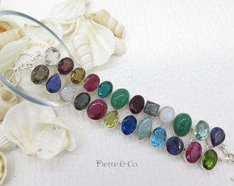 Ruby Emerald Sapphire and Multi cut stones sterling silver bracelet