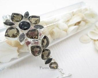 Flower Shape Smoky Topaz Sterling Silver Bracelet