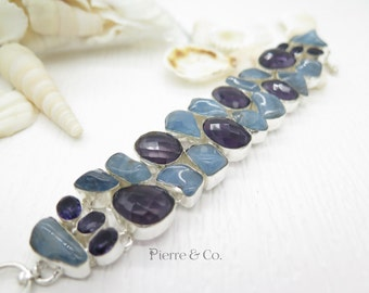 Chalcedony and Amethyst Sterling Silver Bracelet