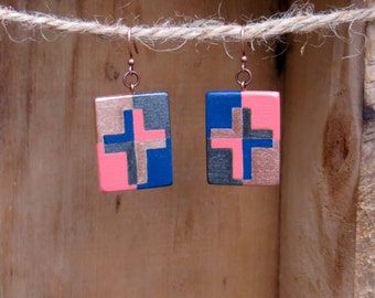 Coral and Navy, Cross Earrings, Mosaic Cross, Wooden Earrings, Wood Earrings, Handmade Earrings, Wooden Cross, Hand painted cross