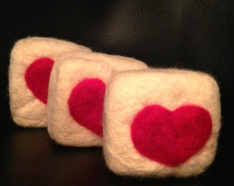 Peppermint vanilla felted soap
