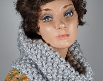 Silver grey hand knitted soft acrylic cowl, scarf, wrap, neck warmer