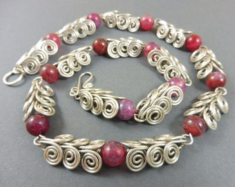 "Aries-Necklace with Red Agate Beads - ""Berries"""