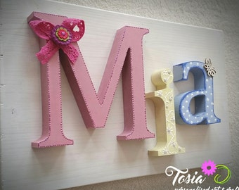 Personalised name on wooden board. Create your letters with me!