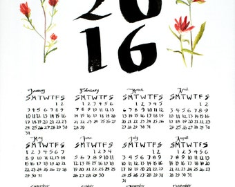 Year-Round Hand Drawn Calendar with Indian Paintbrush