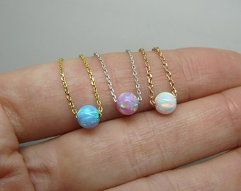 Opal necklace, Opal jewelry, Dainty opal bead, Minimalist necklace, Everyday necklace, Dainty jewelry, Layering necklace