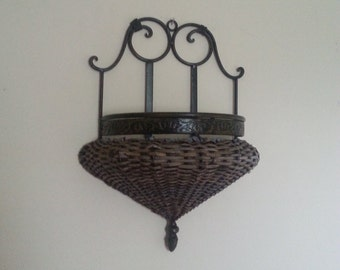 Vintage Wall Hanging Flower Basket Wrought Iron and Wicker Antique Bronze Finish