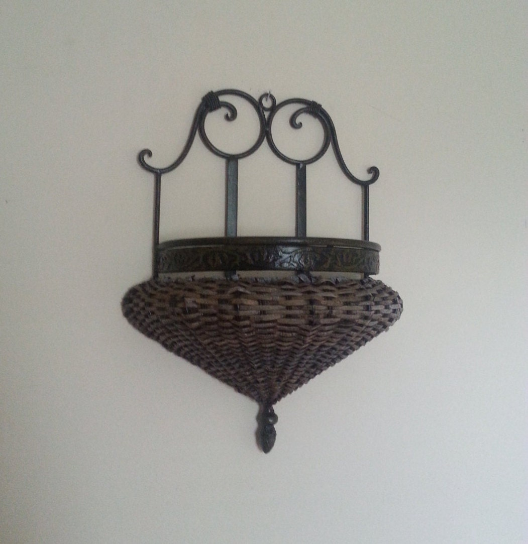 Wrought Iron Wall Sconces Flowers : Vintage Wall Hanging Flower Basket Wrought Iron and Wicker