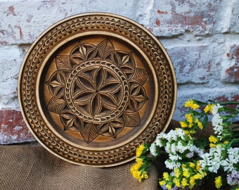 Wooden Decorative Plate Wall Plate Wooden Wall Decor Carved Plate Wooden Plate Hanging Plate Rustic Wooden