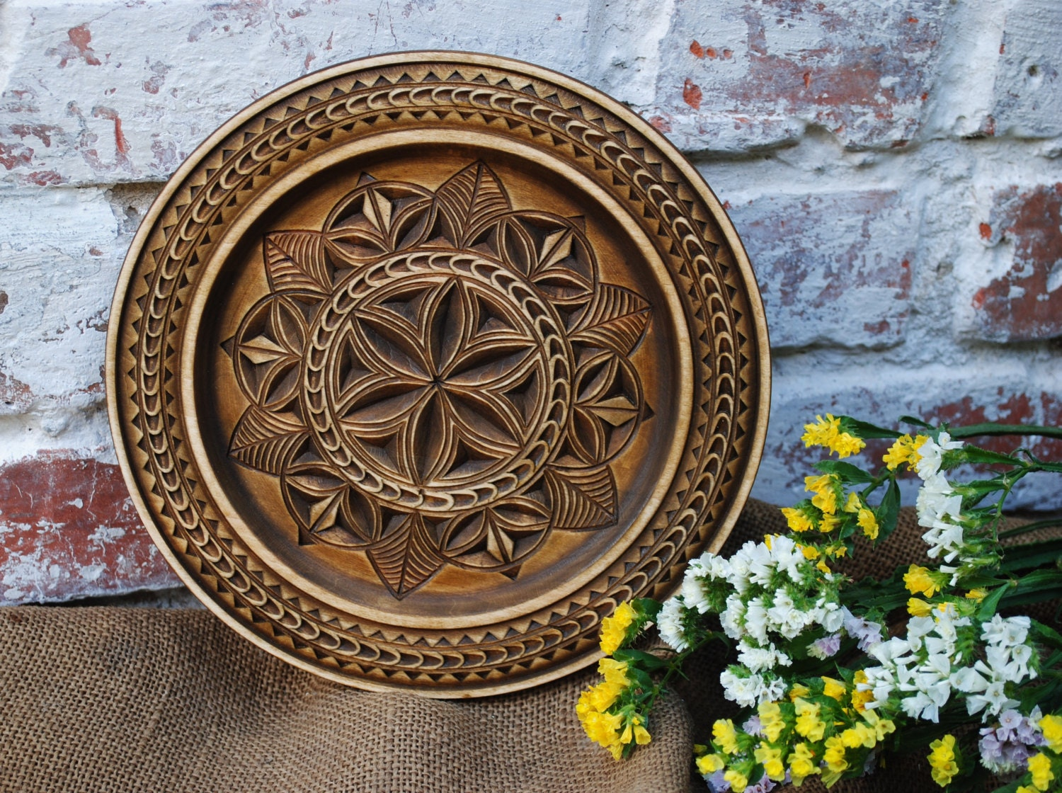 Decorative Wall Plates For Hanging: Wooden Decorative Plate Wall Plate Wooden Wall Decor Carved