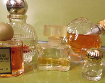 Perfume Bottles--Tiny / 5 Bottles-/ Mostly Empty /White Diamonds /  White Linen--Estee  Lauder / Avon /  Bath and Beauty  / Collectibles