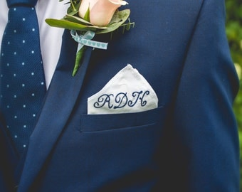 Monogrammed Pocket Square // Personalised embroidered silk handkerchief with monogrammed and/ or date