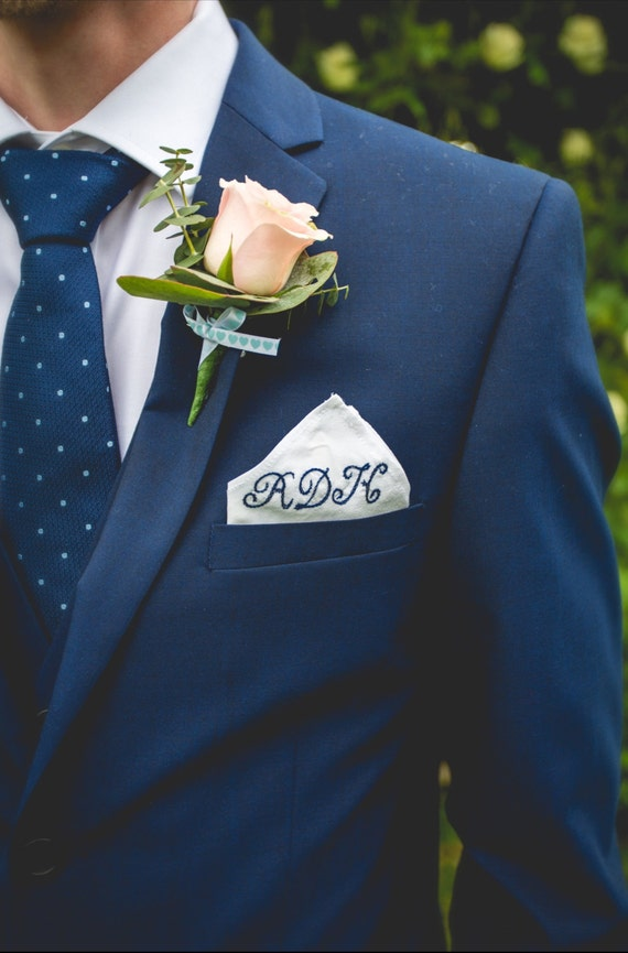 monogrammed pocket square      personalised embroidered silk