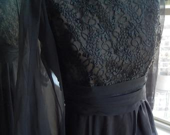 Vintage 70's 80's Black Chiffon Miss Elliotte Dress