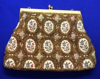 Vintage Handmade Beaded and Embroidered Purse, Gold Color and Flowers