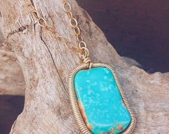 Turquoise Pendant Necklace Hand Coiled Frame One of A Kind Natural Organic