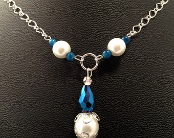 Silver Handmade Beaded Necklace Oval Rolo Sterling Chain Women's / Glamorous Legacy Necklace