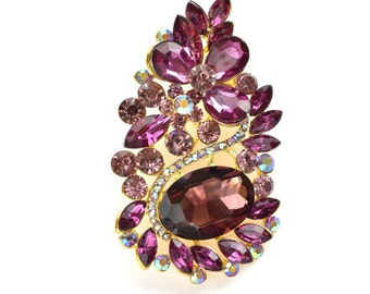 Purple Gold Rhinestone Brooch Crystal Brooch Wedding Accessories Bridal Brooch bouquet Hair comb