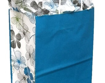 Pack 10 handled paper bags turquoise with flowers + 20 sheets of matching tissue,8x4.5x10.25,Gift bag and tissue paper, small paper gift bag