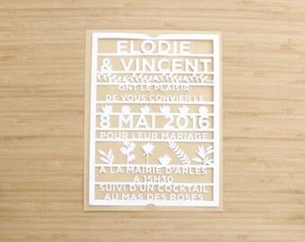 faire part mariage papier dcoup dentelle de papier champtre lgant - Faire Part Mariage Etsy
