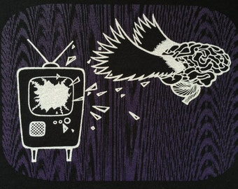 Shirt T-Shirt Handmade Screenprint Television Brain Design ~ Free Your Mind From Television