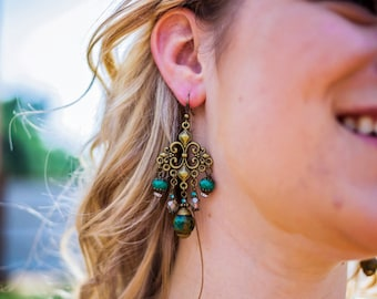 Bohemian Beauty...Gypsy, Bohemian, Teal, Green, Blue, Czech Glass Beads, Tibetan Beads, Chandelier Earrings