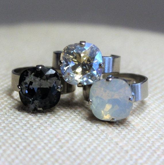 Antique Silver 12mm Cushion Cut Swarovski Crystal  Rings -White Opal, Black Diamond, Pacific Opal or Moonlight