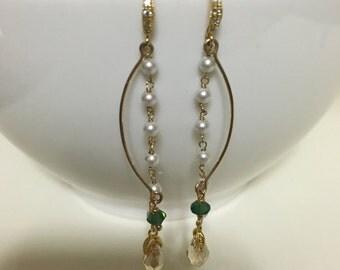3mm Swarovski Crystal Pearl, 14k Gold, Swarovski Crystal, 14k Gold Plated 92.5 Silver Hook Earings