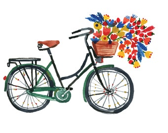 Green bike Wall print
