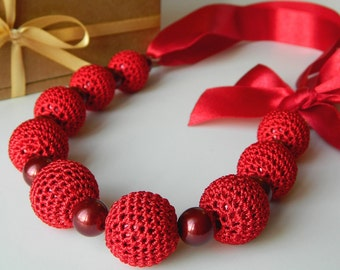 Red crochet necklace.  Bridesmaid jewelry. Necklace on ribbon.