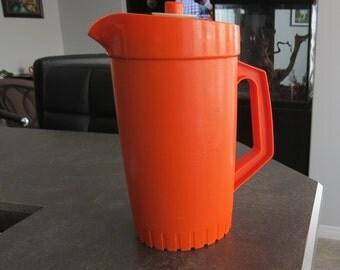 Vintage Orange Tupperware Pitcher Kitchen Serving