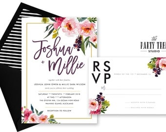 Wedding Invitation Printable , Floral Wedding Stationery Suite , Modern Floral Wedding Invitation , Wedding RSVP , Printable Wedding Suite