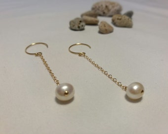 Earrings culture and Golden Pearl (finishes 14 k gold)
