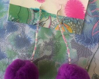 Pretty Purple Pom Pom Earrings!