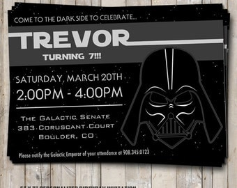Star Wars birthday invitation featuring DARTH VADER - personalized for your party - digital / printable DIY Star Wars invitation