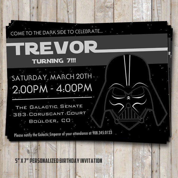 Invitación De Cumpleaños De Star Wars Con DARTH VADER - Star wars birthday invitation diy